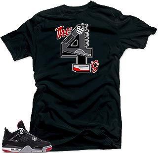 Tee Shirt Match Jordan 4 Bred Sneakers-The 4's Black Tee