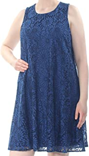 Womens Shift Dress Floral Lace Sleeveless Blue 18