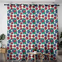 Waterproof Window Curtains,Fig Hand Drawn Style Pattern of Ripe and Juicy Fig Fruit Cut in Half with Green Leaves,Room Darkening, Noise Reducing,W96x72L,Multicolor