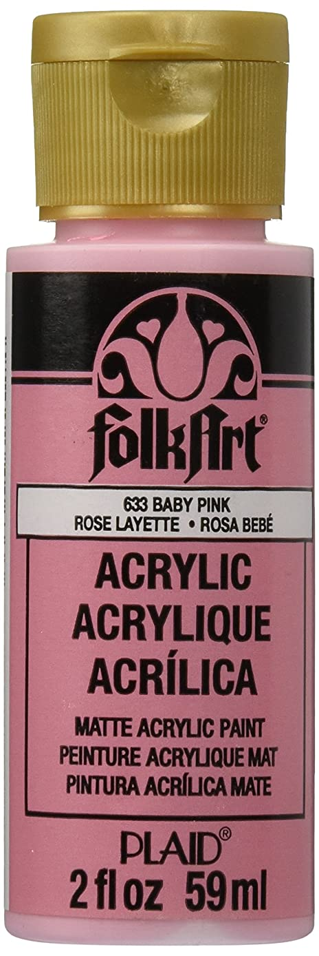 FolkArt Acrylic Paint in Assorted Colors (2 oz), 633, Baby Pink