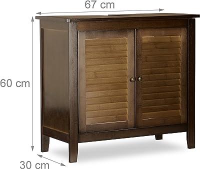Relaxdays Mueble del Lavabo LAMELL, bambú, Mueble de baño, marrón Oscuro, Aprox