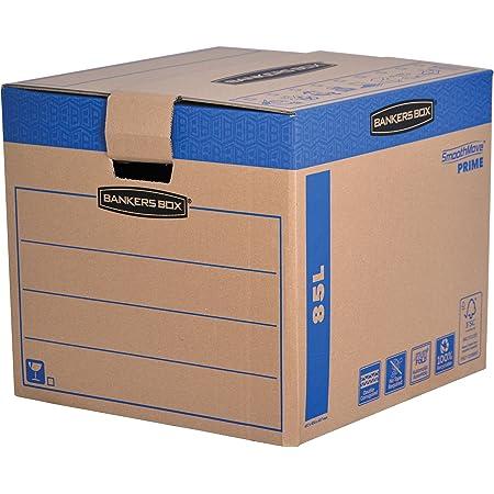 Fellowes 6205301 Caisses de déménagement à charge lourde montage automatique Bankers Box SmoothMove - Medium - Lot de 5