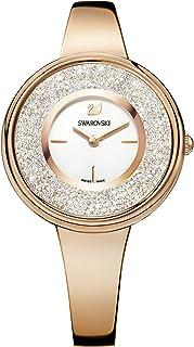 Swarovski Orologio Crystalline Pure, Bracciale di Metallo, Bianco, PVD Oro Rosa
