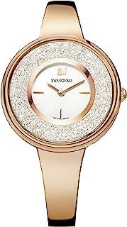 Swarovski Montre Crystalline Pure, Bracelet en Métal, Blanc, PVD Doré Rose