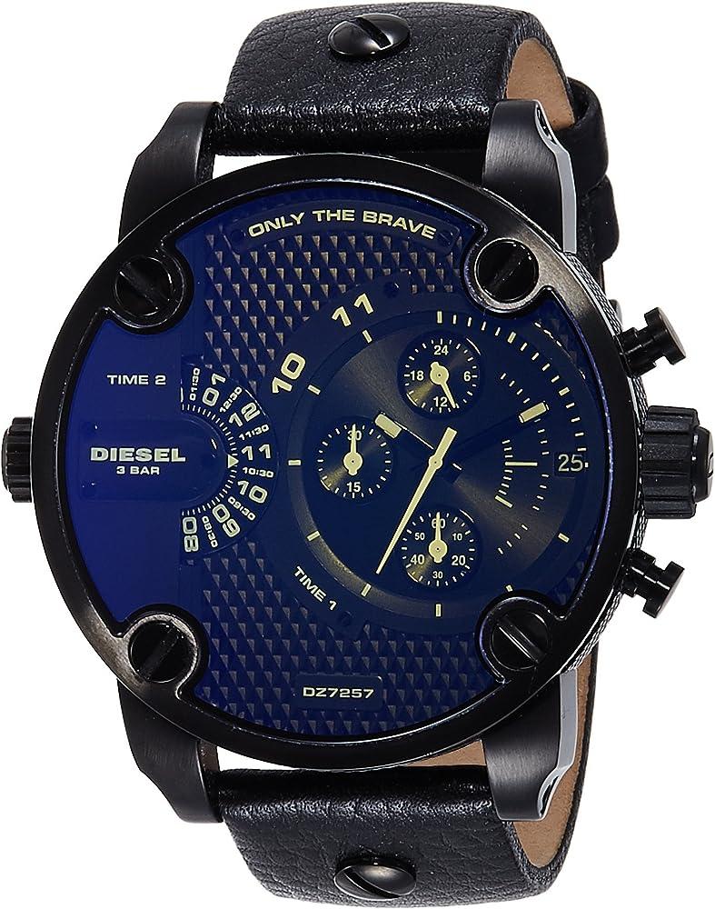 Diesel, orologio cronografo quarzo uomo con cinturino in pelle e cassa in acciaio DZ7257
