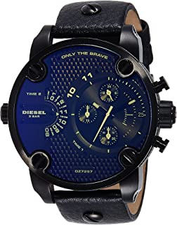 Diesel Men's DZ7257 Little Daddy Analog Black Stainless Steel Watch with Leather Band
