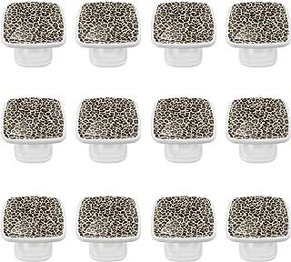 Boutons D'armoire 12 Pcs Poignés Poignée De Champignons Porte Poignées avec Vis pour Cabinet Tiroir Cuisine,Texture léopard