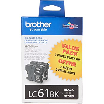 Brother LC61BK 2 Pack Black Ink Cartridges