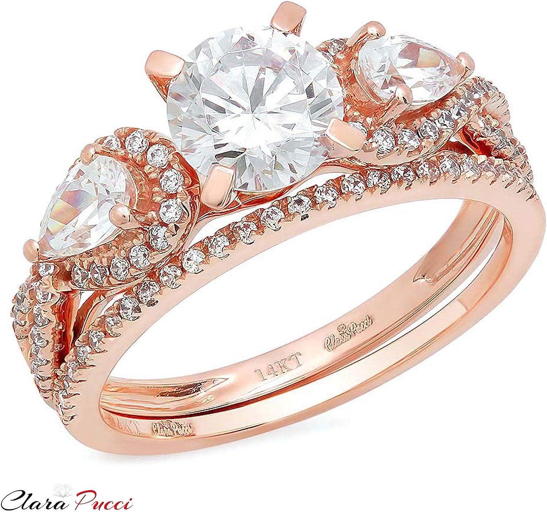 Round Pear cut Pave Bridal Engagement Wedding Ring Band Set Halo 1.9 Carat 14k Rose Gold