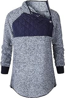 Women's Plush Hoodie Splicing Oblique Button Neck Warm Pullover Fleece Sweatshirt Outwear Coat