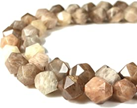 [ABCgems] Madagascan Chocolate Moonstone AKA Peach Moon Stone (Exquisite Flash) 8mm Precision-Star-Cut Beads for Beading & Jewlery Making