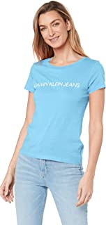 Calvin Klein Jeans Women's Institutional Logo Slim Fit T Shirt, Alaskan Blue, M