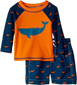 Hatley Kids - Tiny Whales Mini Swim Trunks & Rashguard Set (Infant)