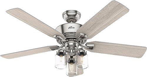 lowest Hunter Fan lowest Company 50604 Devon Park Ceiling Fan, 52, Brushed Nickel wholesale Finish outlet online sale