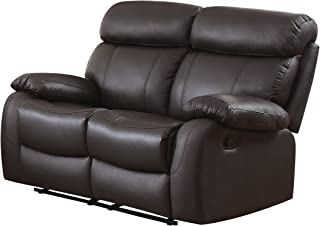 Homelegance 8326BRW-2 Pendu Reclining Loveseat Top Grain Leather Match, Brown