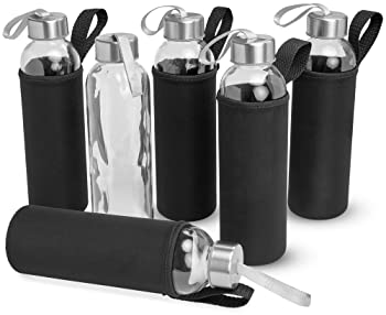 Kitchen Lux 18oz Glass Water Bottles - 6 Pack - Nylon Protective Sleeves, Airtight Screw Top Lids, Portable Carrying ...
