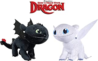 How to Train Your Dragons - Pack 2 Plush Toy Light Fury White Dragon + Black Dragon Toothless - Quality Super Soft 11'80