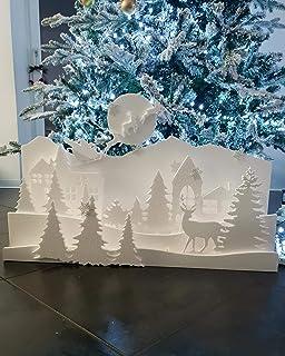 - FoamArt- KIT Paesaggio Invernale in polistirolo Babbo Natale Slitta e Renne EPS Alta Densità Lunghezza 70 cm