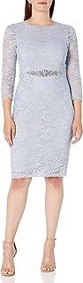 فستان ضيق بأكمام 3/4 للسيدات من Jessica Howard مع حزام خصر مطرز بالخرز