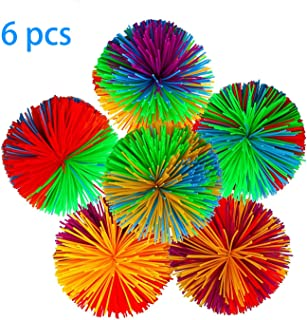 AOOTOOSPORT 6-Pack Monkey Stringy Balls, Soft Active Fun Toy, Great Fidget / Stress / Sensory Toy Rainbow Pom Bouncy Stress Ball