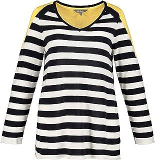 Ulla Popken Damen gro/ße Gr/ö/ßen bis 64 V-Ausschnitt Streifenmuster und Zipfelsaum Long-Sweater Halbarm Seitenschlitze 722293