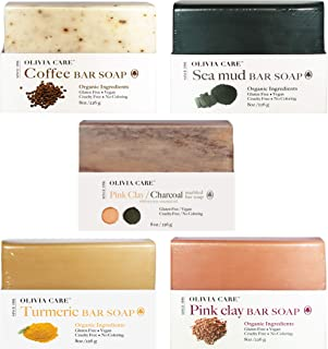 OLIVIA CARE Prime Soap Deluxe Gift Basket, 5 Flavors: Sea Mud, Pink Clay, Turmeric, Coffee, Pink Clay & Charcoal! -All Nautral Ingredients, Triple-Milled, Cold-Pressed Soaps (5 Soaps Total)