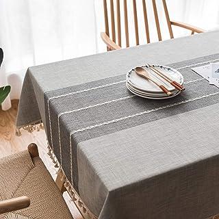 Topmail Nappe de Table Rectangulaire en Coton et Lin, Nappe Imperméable Anti-Taches Brodée Protection de Table avec Frange...