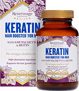 Reserveage, Keratin Hair Booster for Men, Hair Supplement, Supports Healthy Growth and Thickness with Biotin, 60 Capsules ...