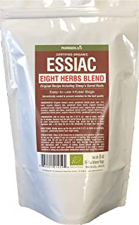 Organic Essiac Tea Infuser Bags, Original 8 Herbs Recipe Including Sheep Sorrel Roots,. Easy To Use Infuser Bags, Value Pack, 16 Infuser Bags, Approx 16 Weeks Supply.