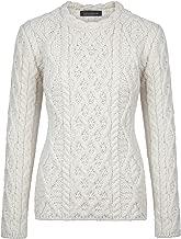 Ireland's Eye 100% Irish Merino Wool Ladies Aran Sweater with Lambay Stitching
