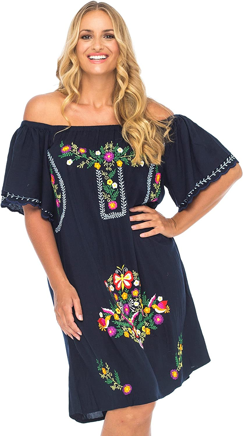 Back From Bali Womens Plus Size Off Embroidered T Dress Mexican Free shipping New High quality