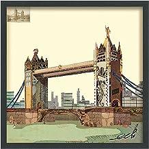 لوحة فنية جدارية فنية ذات أبعاد جسر لندن من تصميم أليكس زينج، مقاس 63.5 سم × 63.5 سم × 3.5 سم، جاهزة للتعليق