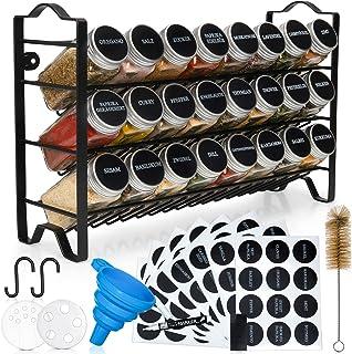 Deco haus Gewürzregal mit Gewürzgläser - 3 stufiges Metall Regal - Küchen Organizer Set, Gewürzständer mit 24 Gewürzdosen,...