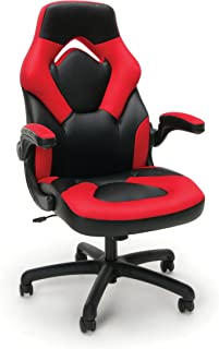 OFM Essentials Collection Racing Style Bonded Leather Gaming Chair, in Red (ESS-3085-RED)