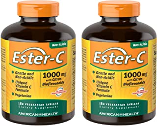 American Health Ester-C with Citrus Bioflavonoids Vegetarian Tablets (2 Pack) - 24-Hour Immune Support, Gentle On Stomach,...