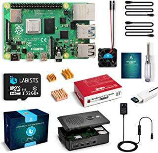 LABISTS Raspberry Pi 4 4B-32GB(技適マーク入)MicroSDHCカード32G/NOOBSシステムプリインストール/カードリーダ /5.1V/3A Type-C スイッチ付電源/MicroHDMI-to-HDMIケー...