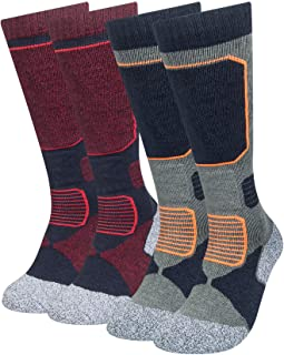2 Pack Ski Socks Womens, Mens Skiing Socks, Snowboard Socks for Cold Weather, Winter Sports, Outdoor Recreation
