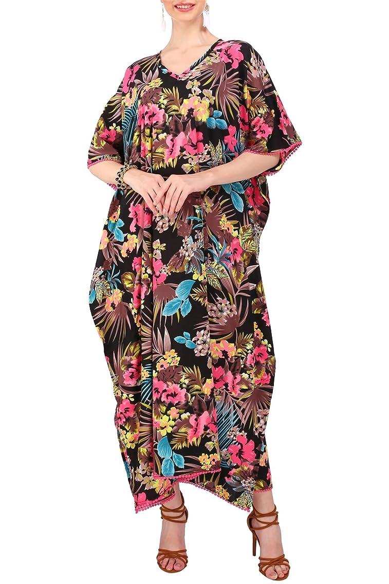 Miss Lavish Women's Kaftan Dresses Tunic Kimono Maxi Caftan Plus Size Lounge Dress