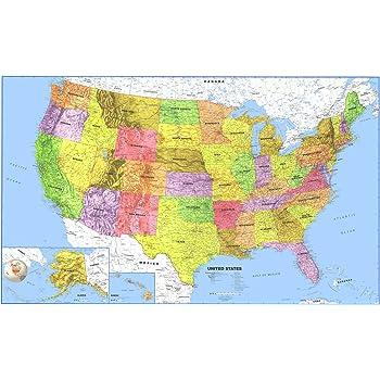 united states map oceans Amazon.: Swiftmaps 24x36 United States Classic Premier Blue