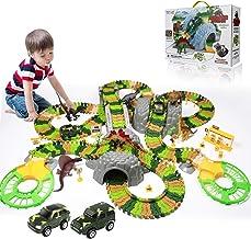 Temi 348 PCS Dinosaur Race Track Toys Set w/ 6 Jurassic Dino Figures, 2 Electric Jeep..