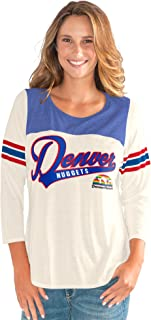 G-III Sports NBA Denver Nuggets Women's End Zone 3/4 Sleeve Tee, X-Large, Vintage White