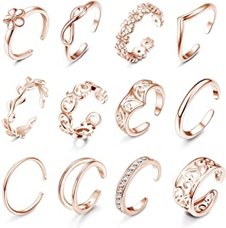 Subiceto 12 PCS Open Toe Rings for Women Various Types Hollow Flower CZ Band Tail Rings Adjustable Hawaiian Foot Jewelry