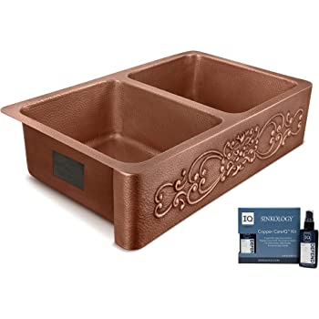 Sinkology SK312-36SC-AMZ-IQ Renzan Farmhouse Apron-Front Handmade 36 inch Double Bowl Antique CareIQ Kit Copper Kitchen Sink