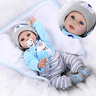 iCradle Lifelike 22inch 55cm Reborn Baby Doll Soft Silicone Vinyl Baby Boy Doll Toy for Ages 3+ (C)