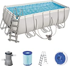 Bestway Power Steel Juego de piscinas de marco de acero con bomba de filtro y accesorios, rectangulares, 8124 litros, gris, 412x201x122 cm