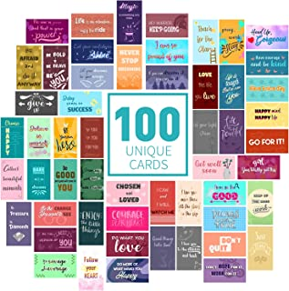 100 Motivational cards with inspirational quotes - encouragement and kindness cards shows gratitude and appreciation. Affirmation cards set contains 100 uniquely designed mini note cards