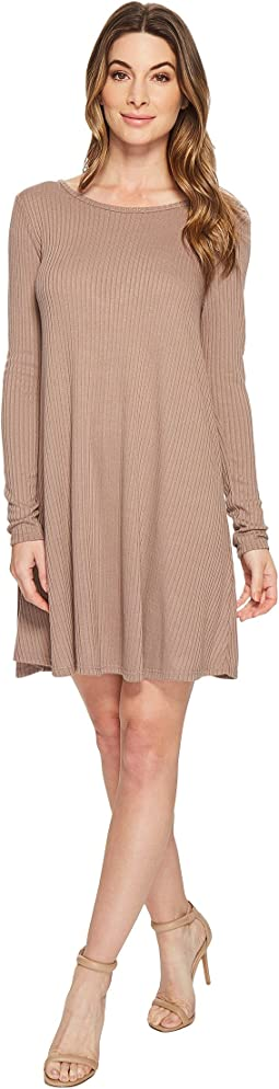 Amelia Long Sleeve Ribbed Dress with Open Back