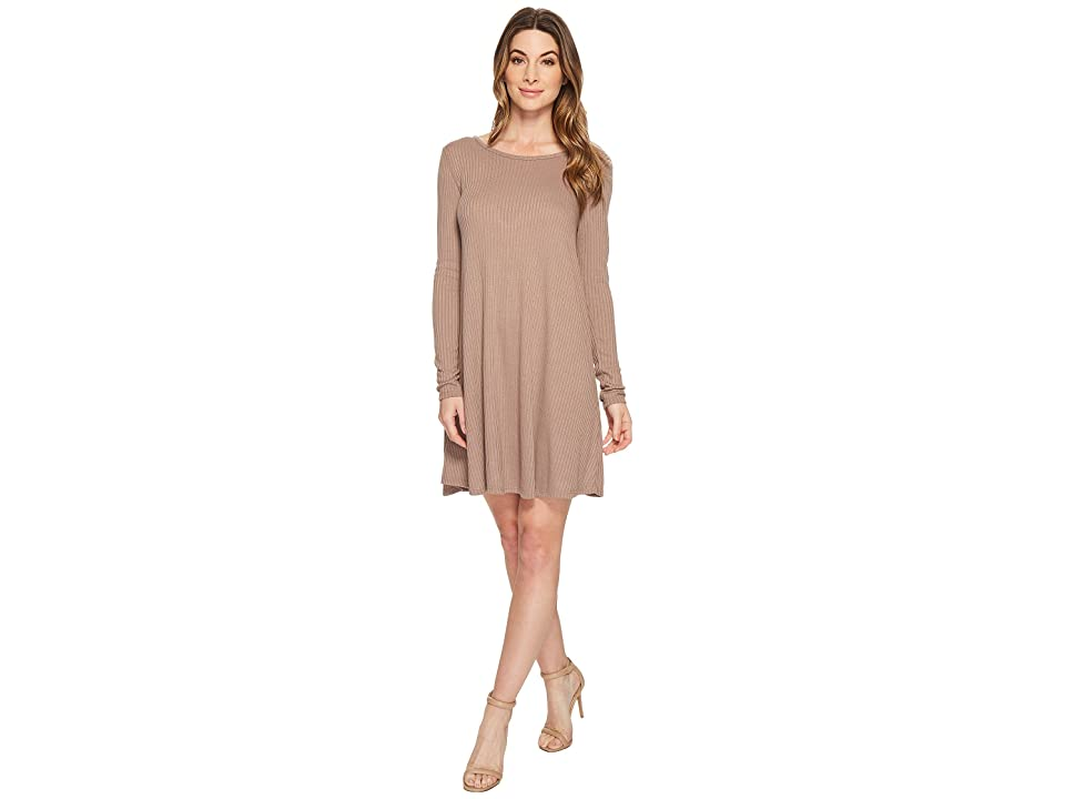 American Rose Amelia Long Sleeve Ribbed Dress with Open Back (Taupe) Women
