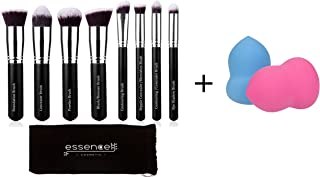 Essencell Premium Synthetic Kabuki Makeup Brushes Set, Makeup Brush Kit and Beauty Makeup Sponge Blenders 2pc pack