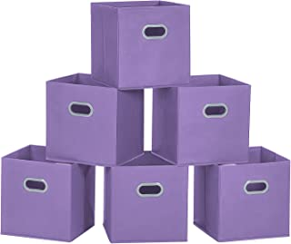 MaidMAX Cloth Storage Bins, Set of 6 Nonwoven Foldable Collapsible Organizers Basket Cubes with Dual Plastic Handles for Gift, Purple